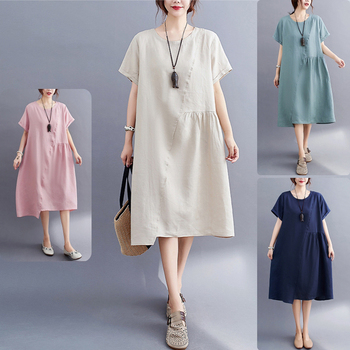 Elifashion Simple Loose Stitching Solid Color Cotton & Linen Round Neck Short-sleeved Dress Women Long section For summer simple long sleeves round neck solid color t shirt for women