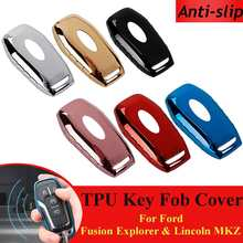 TPU Remote Key Case Fob Cover Anti-slip voor Ford Fusion (Mondeo) mustang F150 Edge Explorer voor Lincoln MKZ MKC Auto Accessoires