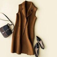 Double side 300% Wool Women's Vest Coats Spring Sleeveless Wool Coat Wasitcoat for Women colete feminino FG8434