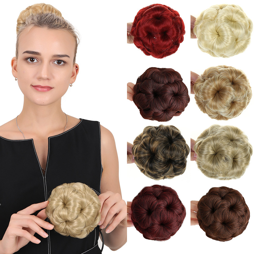 MUMUPI  Women Curly Flower Chignon Hair Bun Donut Claw In Hairpiece Extensions Synthetic High Temperature Fiber Chignon