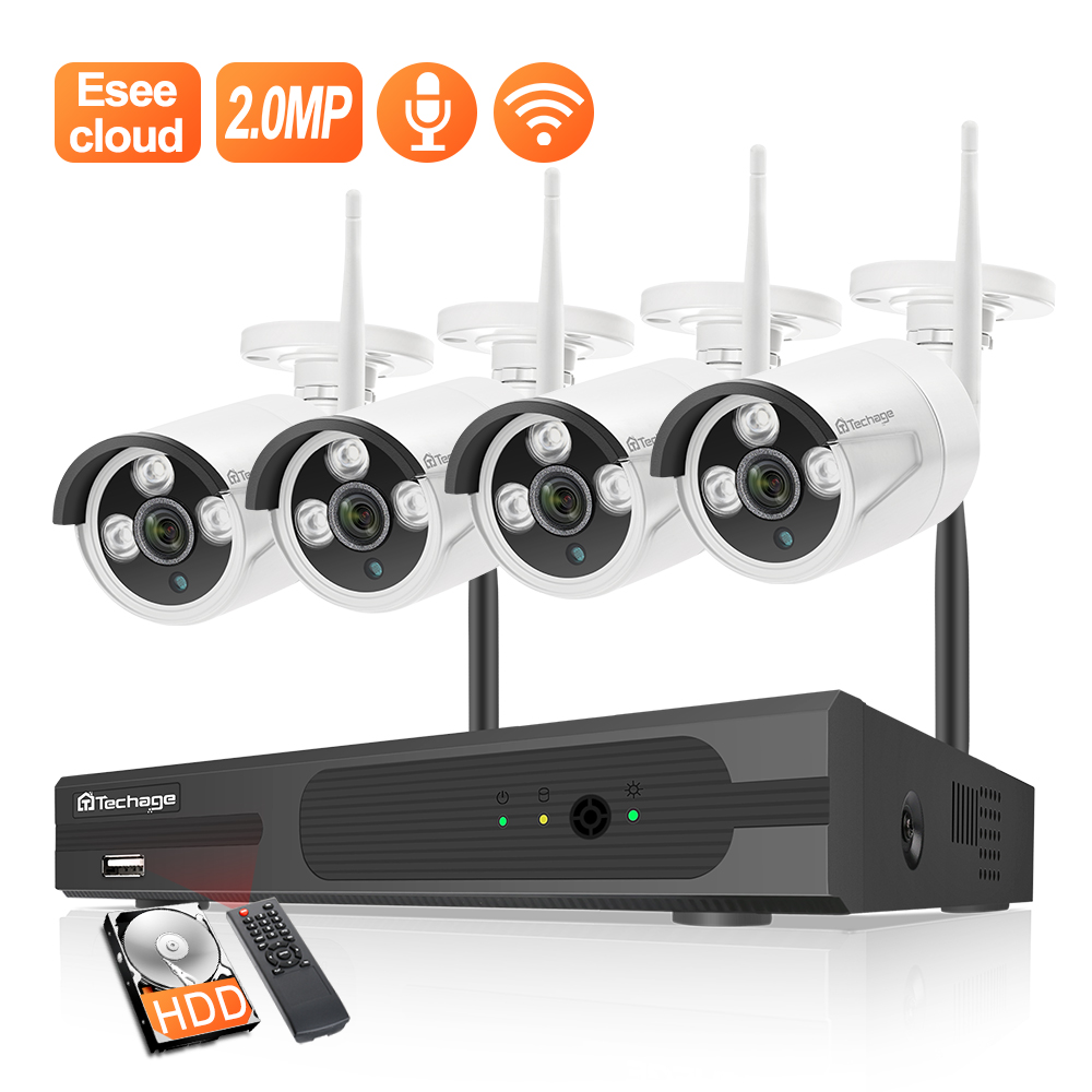 Techage 8CH 1080P HD WiFi NVR Audio 2,0 MP Outdoor Wetterfeste CCTV Wireless IP Kamera Sicherheit Video Überwachung System kit