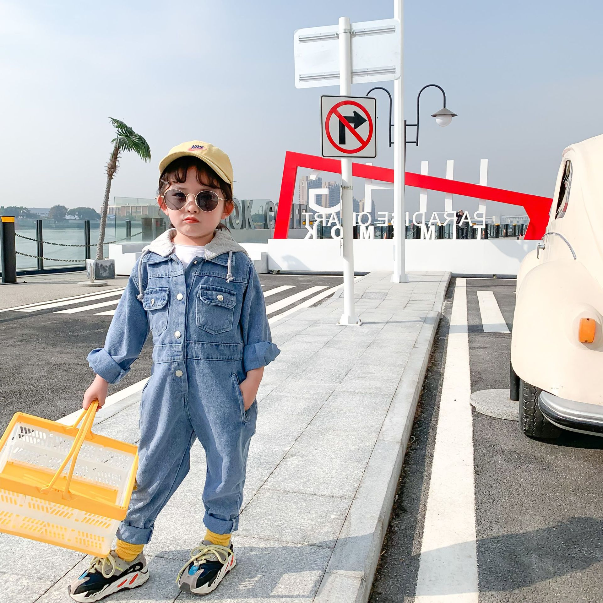 3230 2020 Boys' And Girls' Long Sleeve Jeans Bodysuit Spring And Autumn Overalls Children's Korean Denim Pants Clothes Suit