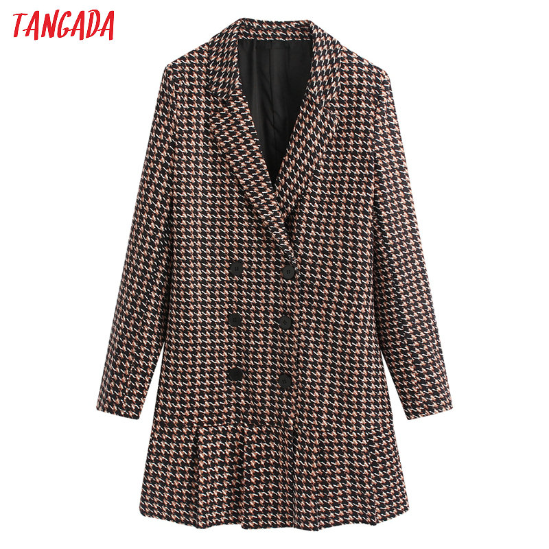 Tangada Women Elegant Print Blazer Dress Long Sleeve Buttons Vintage Style Females Office Lady Mini Dresses Vestidos BE102