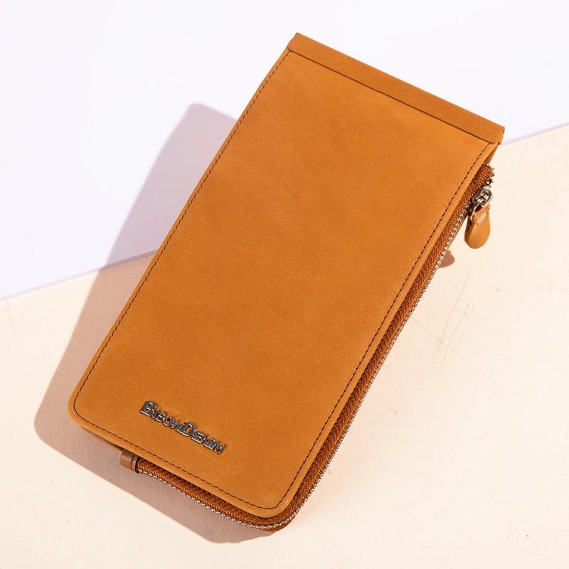 Image 5 - BISON DENIM Wallets Genuine Leather Card Holder Wallet Men Cowhide Weaving Zipper Coin Purse for Men Women carteira  N9301Wallets   -