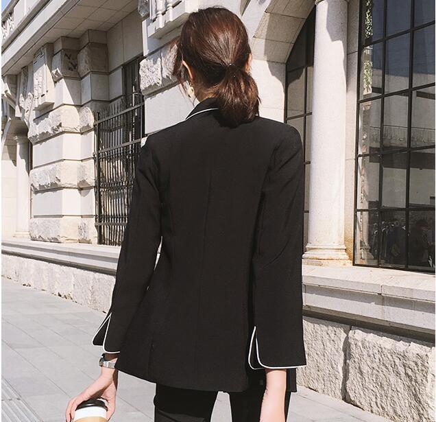 Autumn New 2020 Korean Double Breasted Blazer Women Two Piece Set Simple Casual Female Suits Ladies Work Wear LX2198