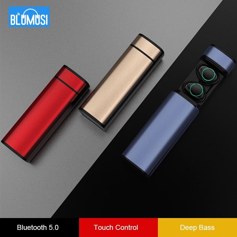True Wireless Headphones Bluetooth 5.0 Earphones TWS 3D Stereo Sound Earbuds Hands free Headset Touch Control Bass Headphones