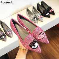 2019 New Arrival Bling Spring Pink Silver Glitter Big Eyelash Flats Shoes Woman Pointy Toe Lip Slip On Smoking Sapatos Loafers C