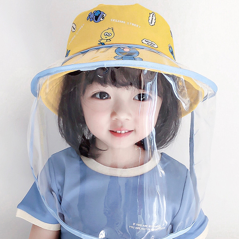Large Mask Dust-proof Children Protective Hat Fisherman Cover Sun-shield Anti-fog Epidemic Cap Baby Cute Animal Cotton Hats