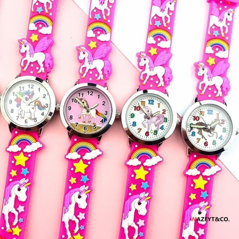 New Fashion Girls Children Sweet Candy Rainbow Quartz Watch Boys Kids Student Cute Cartoon Animals Horse Dial 3D Silicone Clock