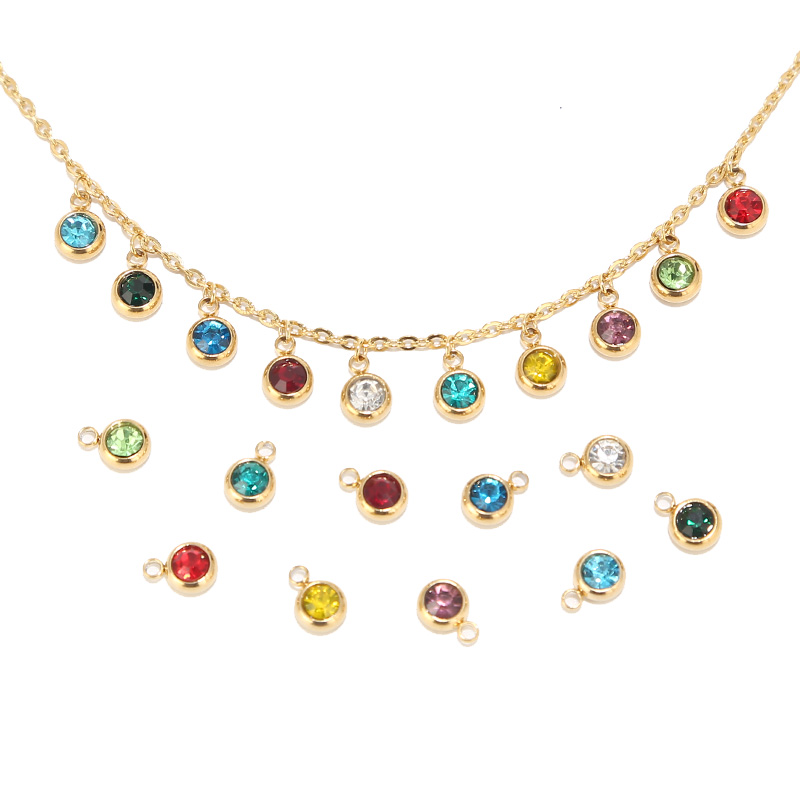 10pcs Stainless Steel Gold Birthstone Crystal Charms Accessories for Necklace Bracelet Jewelry Making