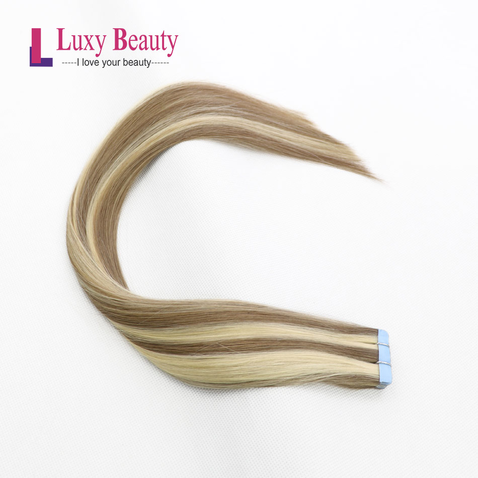 LuxyBeauty#P18-613 1.5g/pc Tape In Hair Extensions Human Hair Remy Straight Double Sided Skin Weft Hair On Adhesives 12