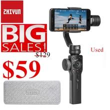 사용 된 오픈 박스 Zhiyun Smooth 4 3 축 핸드 헬드 짐벌 안정기 w/Focus Pull & Zoom for iPhone Xs Max Xr X 8 Plus 7 6 SE