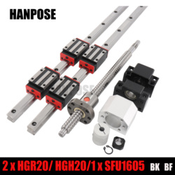 2 pc HGH20 any length+1 SET SFU1605+4 HGH20CA /hgw20cc Linear guide High assembly square load ball screw linear motion module