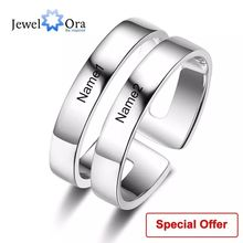 Personalized Gift Custom Couple Rings for Women Engraved Name Promise Ring Stainless Steel Jewelry (JewelOra RI103289)
