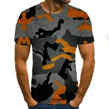 2020 Summer Europe And America 3d Color Outline Art Digital Printing Top Round Neck Short Sleeve Unisex