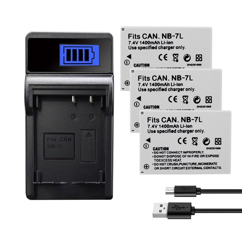 NB-7L de batería para Canon PowerShot G10 G11 G12 SX30IS batería NB-7L NB7L 7L Cámara Cargador de baterías 1400mAh li-iom recargable KUULAA batería externa 20000 mAh USB tipo C PD carga rápida + carga rápida 3,0 batería externa 20000 mAh para Xiaomi iPhone