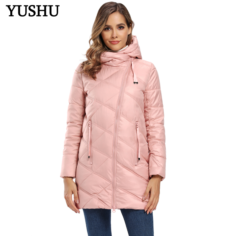 YUSHU Winter Jacket Women Stand-Up Collar Cotton Padded Winter Coat Women Warm Curve Zipper Parka Women Jacket Manteau Femme
