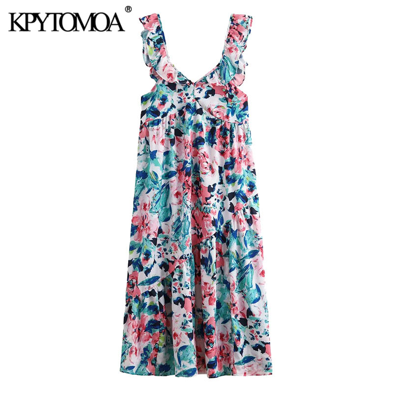KPYTOMOA Women 2020 Chic Fashion Floral Print Ruffled Midi Dress Vintage Side Zipper Straps Female Dresses Vestidos Mujer