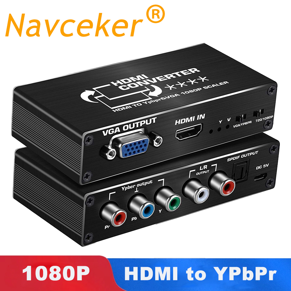 2020 Best HDMI To 1080P Component Scaler Converter, HDMI To VGA Or YPbPr 5RCA Video Converter Adapter With Optical And R/L Audio