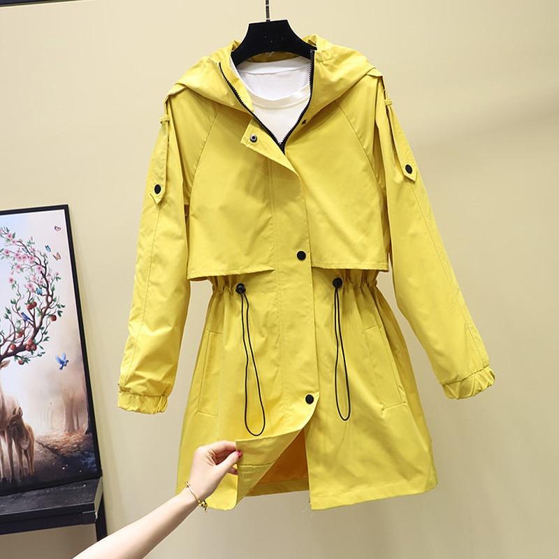 Women's Hooded Jackets 2019 New Autumn Causal Windbreaker Women Basic Jackets Coats Zipper Long Jackets Famale Outerwear R1104