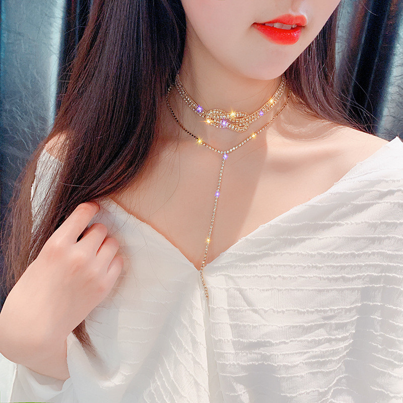 FYUAN Long Full Rhinestone Choker Necklaces for Women Bijoux Gold Silver Color Button Crystal Necklace Statement Jewelry Gifts in Choker Necklaces from Jewelry Accessories