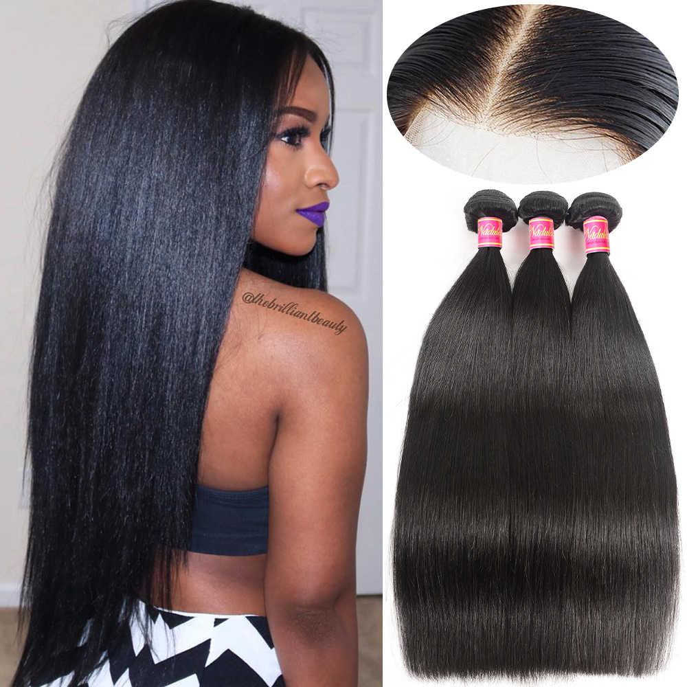 Nadula Hair 3/4 unids/lote de extensiones de cabello lacio peruano de 8-30 pulgadas 100% extensiones de cabello humano Remy envío gratis
