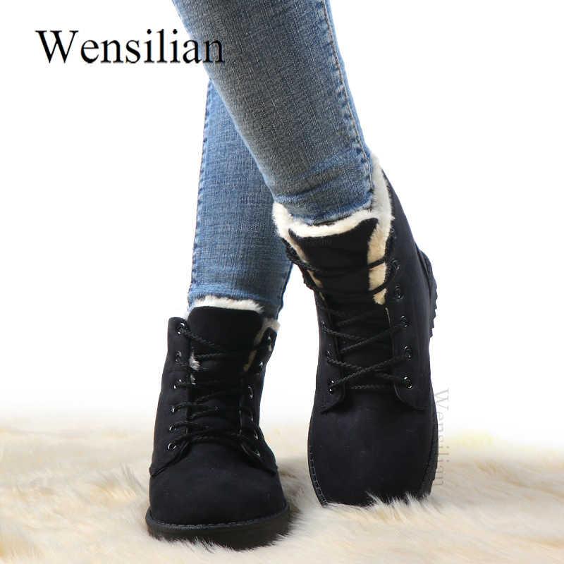 קרסול מגפי נשים מגפי בז 'אופנה שלג מגפי שרוכים נעלי חורף מוצק נשים נעלי Lidies נעל עם קטיפה Botas Mujer