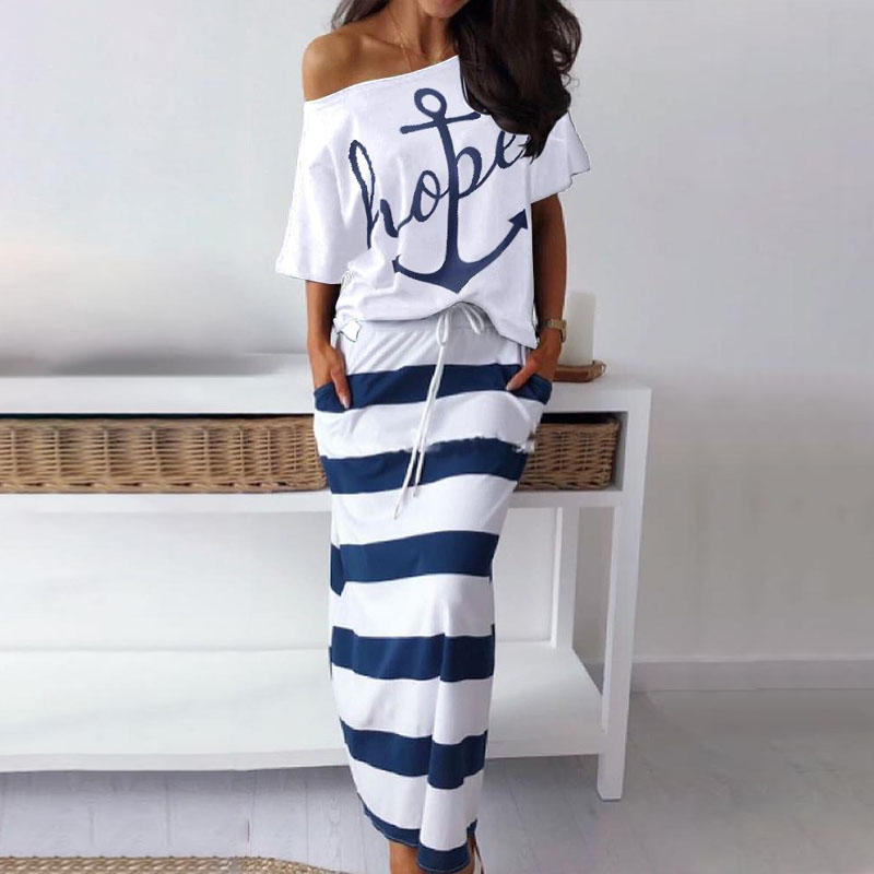 Women's Two Piece Sets Boat Anchor Print T-Shirt And Striped Skirt Summer Elegant Sexy Off Shoulder Two-pieces Suit Lady Dress