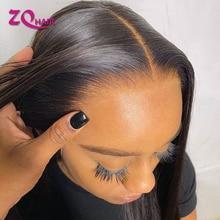 28 30 Polegada reta frente do laço peruca de cabelo humano para as mulheres remy peruano cabelo humano fechamento do laço peruca pré plukced com cabelo do bebê