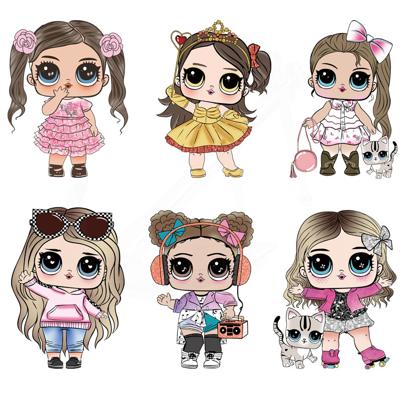 New Cute LoL Doll Girls Patch For Clothing 23*15 Cm Iron On Patches Diy Baby T-shirt Dresses Thermal Transfer Sticker
