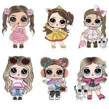 Новая Милая Одежда для девочек с нашивками в виде куклы LoL, 23*15 см, железные нашивки «сделай сам», Детские футболки, платья, термопереводная наклейка