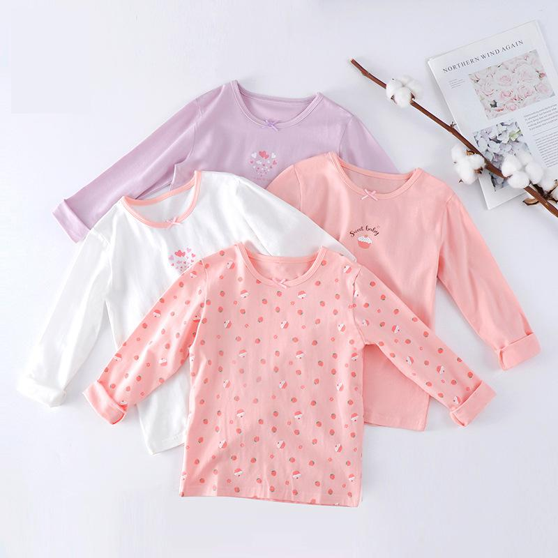 95% cotton girls inside t shirts for autumn and winter height 100-160cm 1079