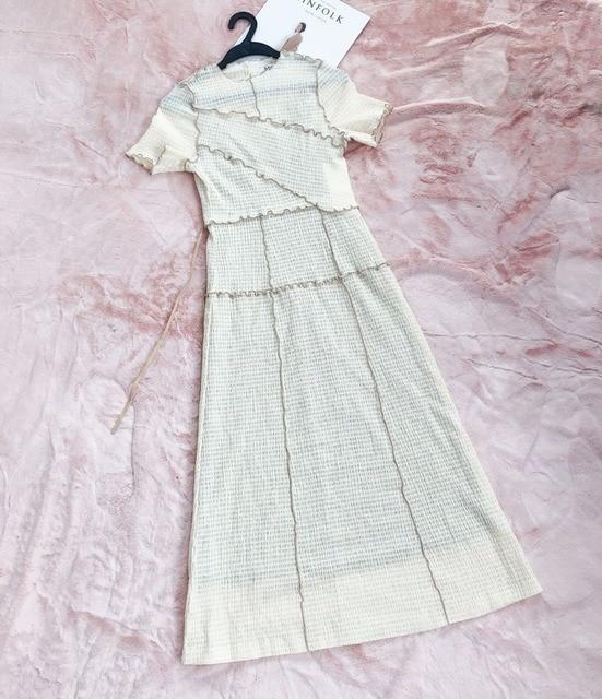 Kuzuwata Chic Wooden Ear Patchwork Pleated Women Dress 2021 Spring Summer Drawstring Vestidos New High Waist Plaid Dresses 6