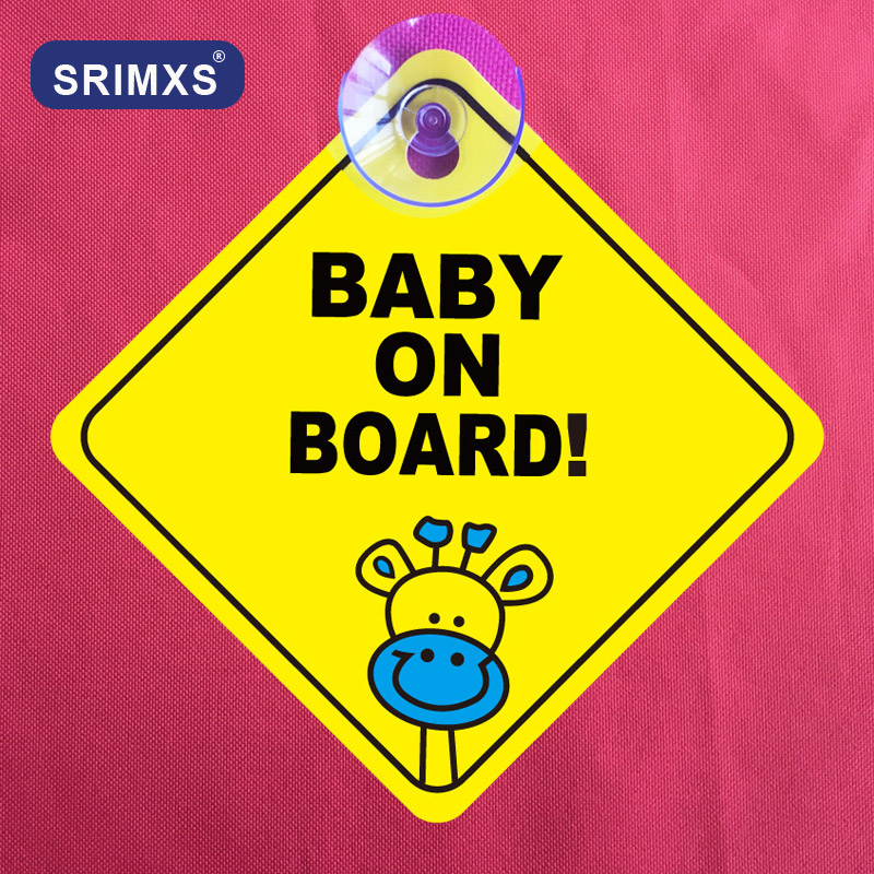 Car Sticker Baby On Board Sucker Warning Safety Sign Sticker Vinyl Decal For Car Vehicle Window Stickers Car Accessories
