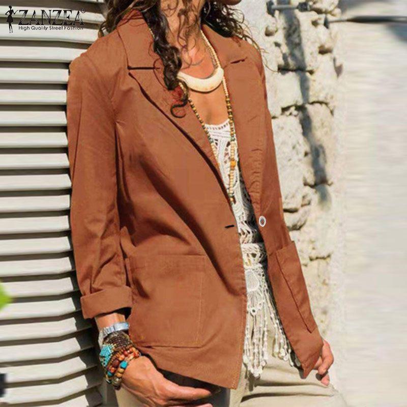 ZANZEA 2020 весенние женские повседневные блейзеры с длинным рукавом элегантные дамские однотонные пиджаки офисные дамские рабочие блейзеры ут...