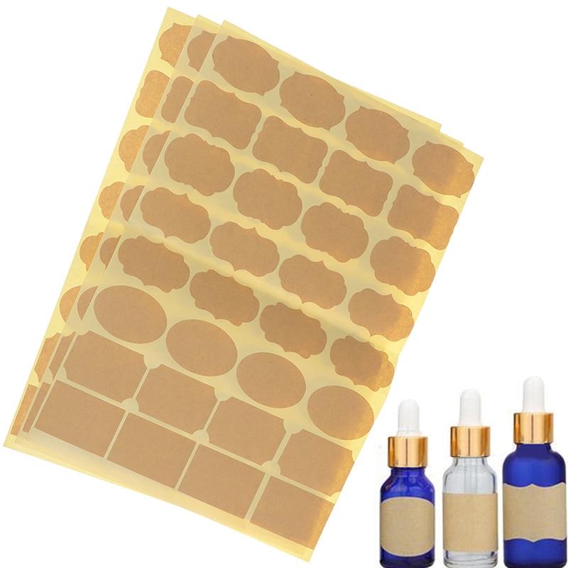 96PCS/3Sheets Empty Kraft Paper Essential Oil Perfume Bottle Roller Labels Stickers Accessories (inclue 96 Pieces Label)