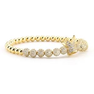 Image 3 - 3pcs/Set Luxury Gold beads Royal King Crown Dice Charm CZ Ball Men Bracelet mens fashion bracelets & bangles for Men Jewelry