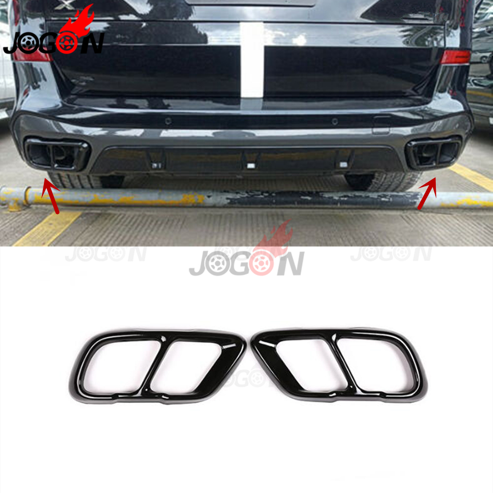 black stainless steel end tip cover for bmw x5 g05 2019 car rear dual exhaust muffler pipe stickers trim 2pcs