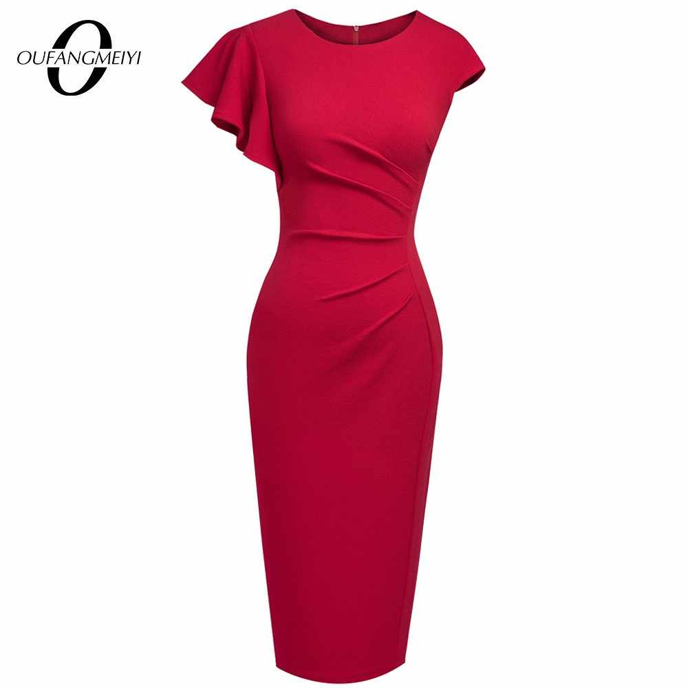 Estate Elegante Increspature del Vestito Delle Donne Patchwork Colorblock Morden Sottile Office Lady Dress EB397