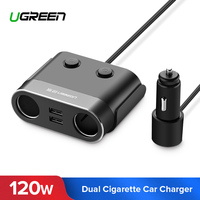 Ugreen Dual USB Car Charger Support Car Recorder Universal Mobile Phone Car Charger with Expander charger for iPhone 6S Samsung