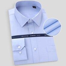 Мужская Однотонная рубашка с длинным рукавом, белая, синяя, без глажки, размера плюс, подходит для деловых встреч, 2020