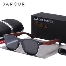 BARCUR Walnut Sunglasses for Men Polarized Wood Sun glasses UV400 Oculos de sol