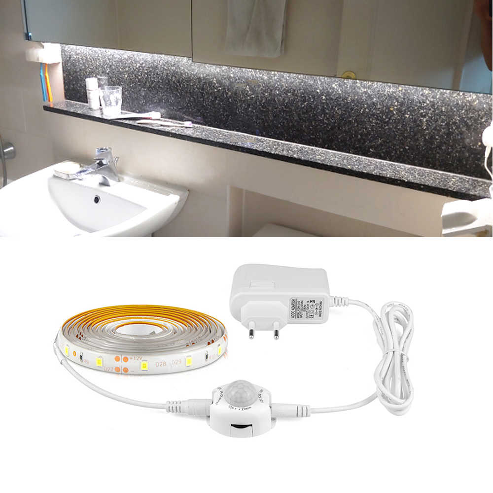 2A fuente de alimentación lámpara nocturna 12V cinta LED PIR Sensor de movimiento tira de luz LED 2835 impermeable armario escalera cama armario Luz