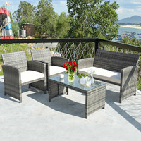 Outdoor Patio 4 Pcs Patio Rattan Furniture Set Top Sofa With Glass Table HW63238