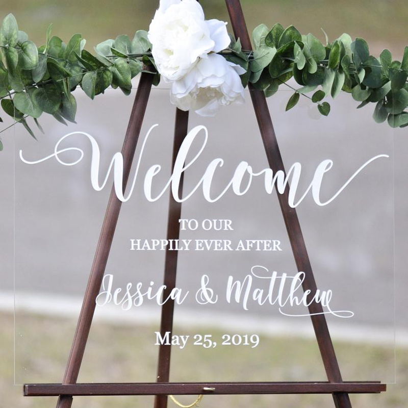 Postponed Wedding Acrylic sign Welcome to our Wedding Sign Personalised wedding sign