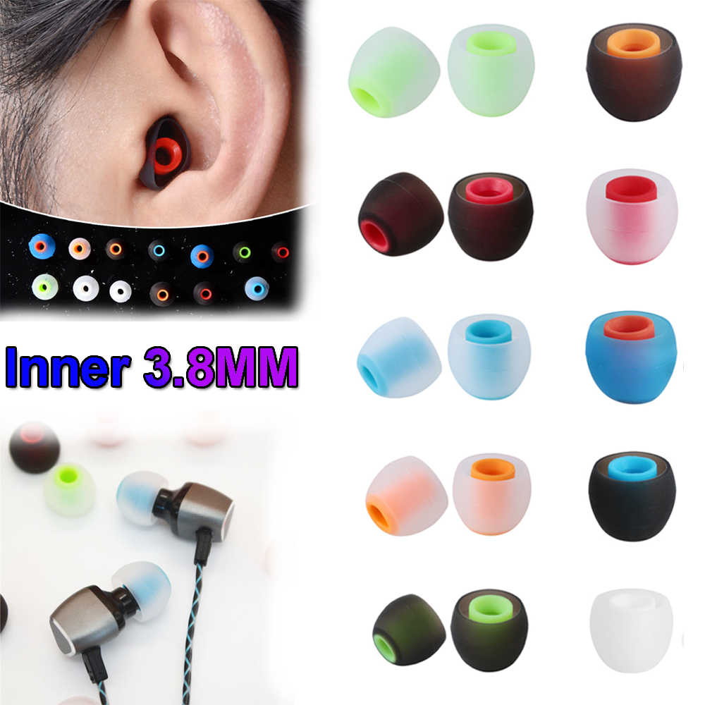 1 Pasang 3.8 Mm Universal Colorful In-Ear Earphone Headphone Silikon Earbud Pengganti Karet Telinga Tips Headphone Aksesoris