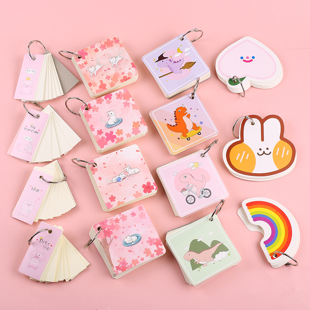 Creative Cute Kawaii Memo Pad Paper Folding Flashcards Index Tab Flash Card Study Stationery Material Notepad School Supply Item