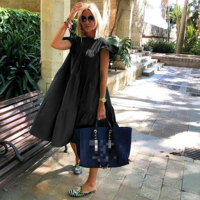 Z ZOUX Women Dress Short Sleeve Pleated Long Dresses Fashion Bohemian Dress Solid Loose Summer Dresses Plus Size White Black New