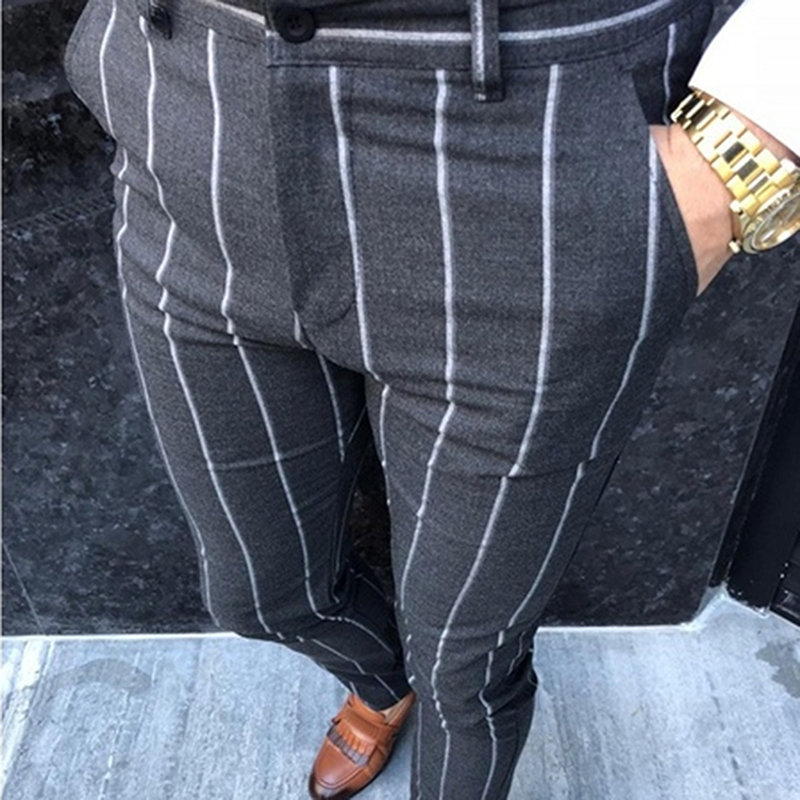 Autumn Men's Fashion Striped Pants Casual Slim Fit Business Long Trousers Male Cotton Blend Party Office Trousers Streetwear