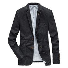 New Fashion Mens Denim Blazer Men Vintage Suit Jacket Male Blue Coat Denim Jacket Men Slim Jeans Smart Casual Blazers Coat Top(China)